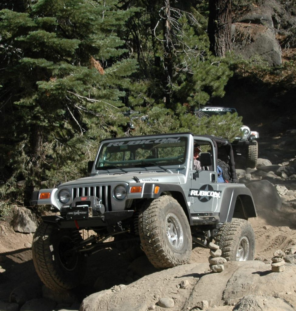 Rubicon Express promotional Jeep on the rocks